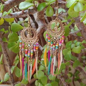 Rainbow feather earrings hippie tribal festival